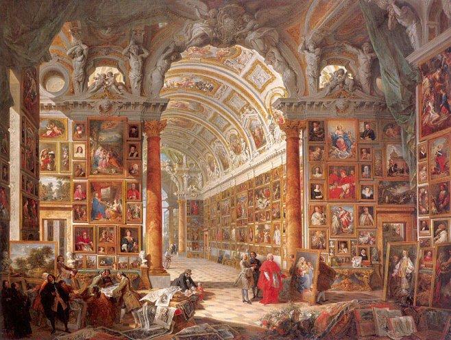 Pannini,_Giovanni_Paolo_-_Interior_of_a_Picture_Gallery_with_the_Collection_of_Cardinal_Silvio_Valenti_Gonzaga_-_1740